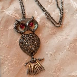 Jewelry - Vintage Articulated Stylized Owl On Tree Necklace!